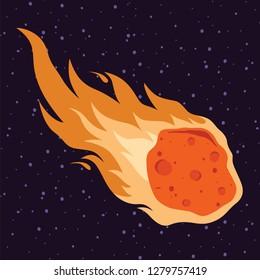 Flame meteor, asteroid,  meteor rain fall  vector illustration in cartoon style.
