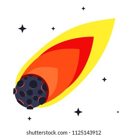 Flame meteorite of flight in space with stars. Comet, meteorite. Modern flat cartoons style vector illustration icons. Isolated on white background. Flame meteorite, asteroid, comet. Apocalypse.