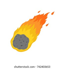 Flame meteorite icon in cartoon style isolated on white background.
