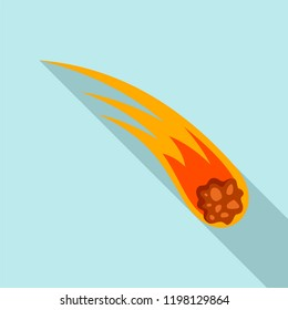 Flame meteorite icon. Flat illustration of flame meteorite vector icon for web design