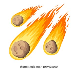 Flame meteorite. Meteor rain fall on planet in cartoon style. Cataclysm color icon. Vector illustration isolated on white background. Web site page and mobile app design