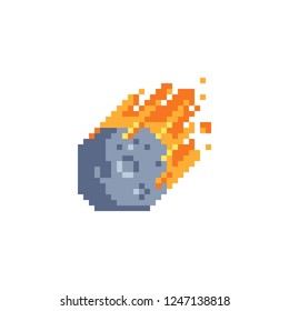 Flame meteorite pixel art icon. Meteor rain fall on planet. Cataclysm color icon. Comet vector illustration isolated on white background. Design for web site, app, sticker.