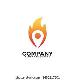 Flame with Pin vector logo. Hot Spot logo