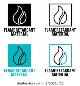 """Flame retardant material"" fire resistant fabric information sign"