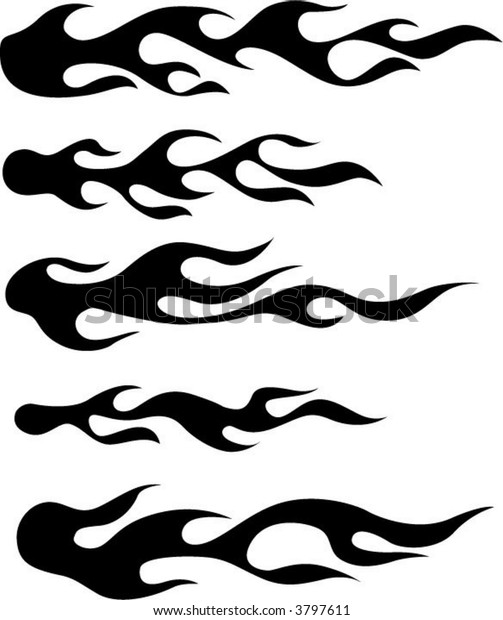Flame Silhouettes Use Illustrator Brushes Other Stock Vector