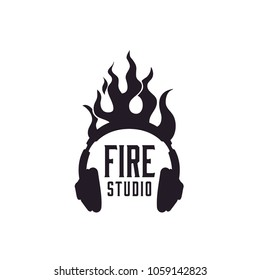 Flame Sound Headphone DJ Studio logo design inspiration