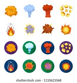 Flame, sparks, hydrogen fragments, atomic or gas explosion, thunderstorm, solar explosion. Explosions set collection icons in cartoon,flat style vector symbol stock illustration web.