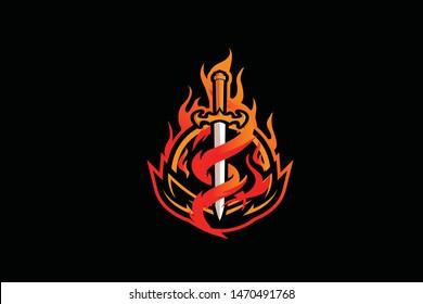Flame Sword E Sports Logo