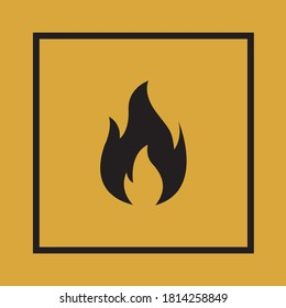 Flame symbol. Warning icon. Square Flammable pictogram. Caution sign. Cardboard. Attention. Industry. Packaging. Risk. Vector. Box. Danger. Indication. Container print. Positive print.