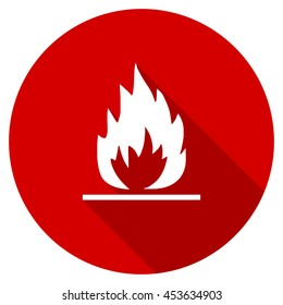 flame vector icon, red modern flat design web element