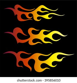 flame vector template, sticker on board side the racing car, fire vector art isolated on black background – icon fire illustration