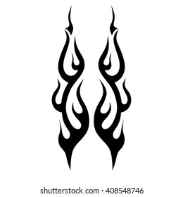 flame vector tribal, tattoo design sketch. Fire black isolated template logo on white background.