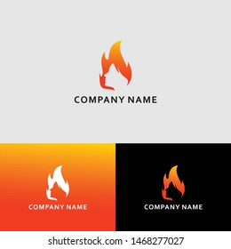 flame and woman modern logo vector