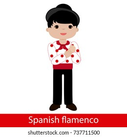 Flamenco boy with white shirt and red polka dots