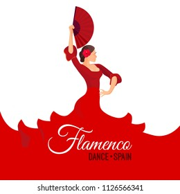 Flamenco dance Spain poster with headline. Young woman dancing