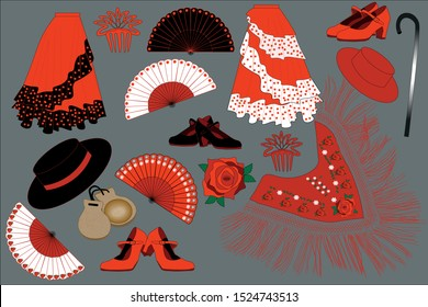 Flamenco dancer belongings. Clothes and other flamenco dancer attributes. Everything necessary for traditional Spanish dancer.