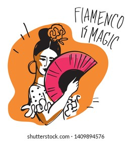 Flamenco dancer with a fan in her hands and a rose in her head hand-drawn on yellow background for a poster or baner. Vector illustration