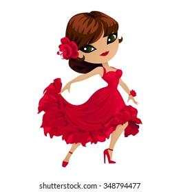 Flamenco dancer. Pretty girl dancer in a red dress in cartoon style.