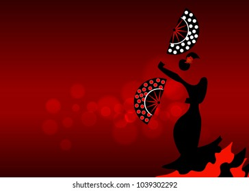 Flamenco dancer, sexy silhouette beautiful Spanish woman in long dress with fan in spectacular pose, vector isolated or red blurred background