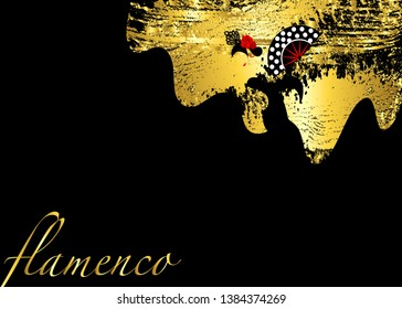Flamenco dancer, sexy silhouette beautiful Spanish woman in black long dress with fan and peineta in spectacular pose, Latin America artist performer, vector template gold leaf fashion background