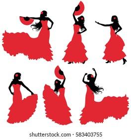 Flamenco dancer silhouette set.