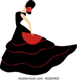 Flamenco dancer. Spanish girl with fan dances a flamenco