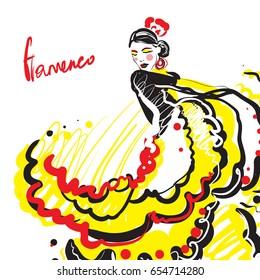 flamenco dancer. Vector card