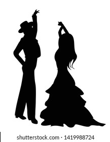 Flamenco dancers silhouettes, isolated and grouped objects over white background
