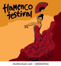 flamenco festival poster drawn by hand. Girl in a red dress in a dance pose with a red fan in his hand at the top of the inscription flamenco festival written by hand vector picture