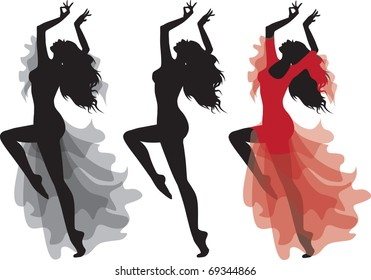 Flamenco gypsy dance silhouette in clothes and naked. No transparency. Vector illustration, isolated on white background.