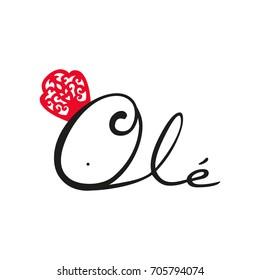 Flamenco logo Olé.  Typical Spanish.Vector illustration.