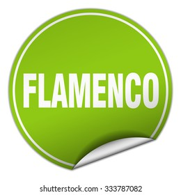 flamenco round green sticker isolated on white