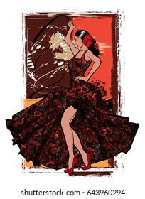 Flamenco spanish dancer woman - vector illustration
