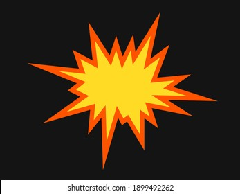 Flames after detonation, blow-up and explosion of the bomb. Vector illustration isolated on black.