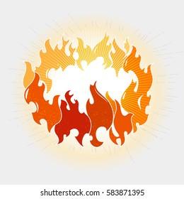 Flames fire ring vector illustration on white background vector illustration