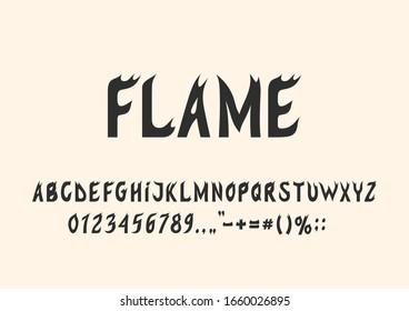 Flames of fire style font. Vector modern calligraphy alphabet. Stylish fluid alphabet for your design: wedding calligraphy, logo, slogan, advertising banner etc.