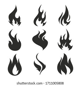 Flames icons. Flame silhouettes. Black firing icons, warning symbols isolated on white. Burning vector emblems.