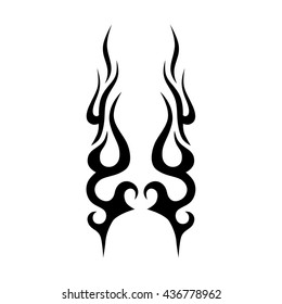 flames motorcycle, flame tattoo tribal vector design sketch. Fire black isolated template logo on white background.