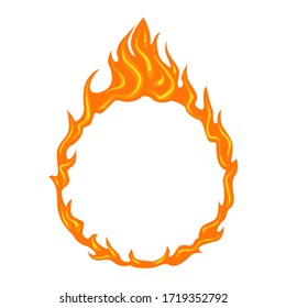 Flames round frame isolated on white background. Vector ring of fire. Cartoon burning circle. Simple flat illustration.