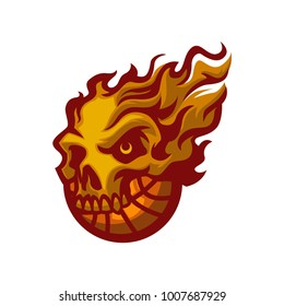 Flames skull basketball cutom logo