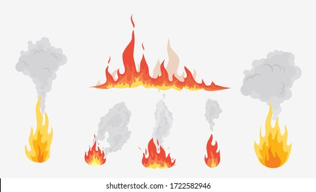 Flames and smoke shape forms. Different types fire and puffs of smoke, red orange vector flames of various shapes emitting cloud of gray smog.