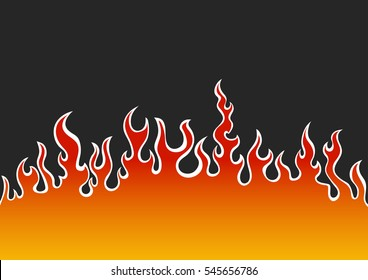 flames in the style of hot rod - vector illustration