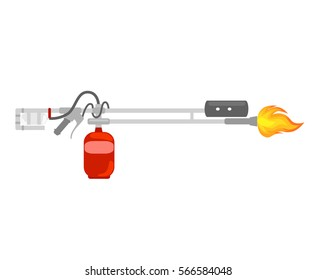 flamethrower with fire  Isolated, Vector illustration