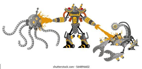 flamethrower robot fighting octopus and scorpion drones