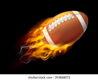 A flaming American football ball on fire flying through the air