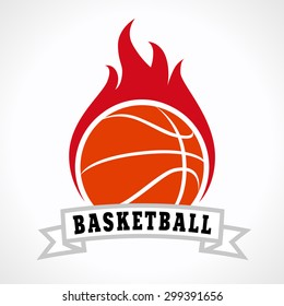 Flaming basketball ball. Fiery sign, vector logo of teams, national competitions, union, matches, leagues or sport equipment shop. Children's schools, kid's sport clubs or junior's tour icon.