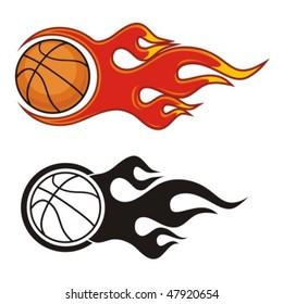 Flaming basketball ball. Vector illustration.