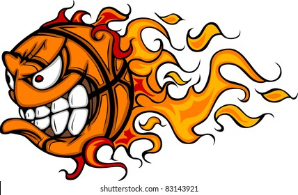 Flaming Basketball Face Cartoon