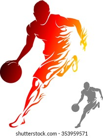 Flaming Basketball Player-Athlete dribbling with flame trail