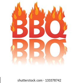 Flaming BBQ word design element. EPS 8 vector, grouped for easy editing. No open shapes or paths.